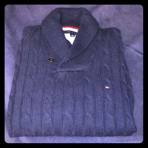 Tommy Hilfiger shawl collar ribbed sweater.